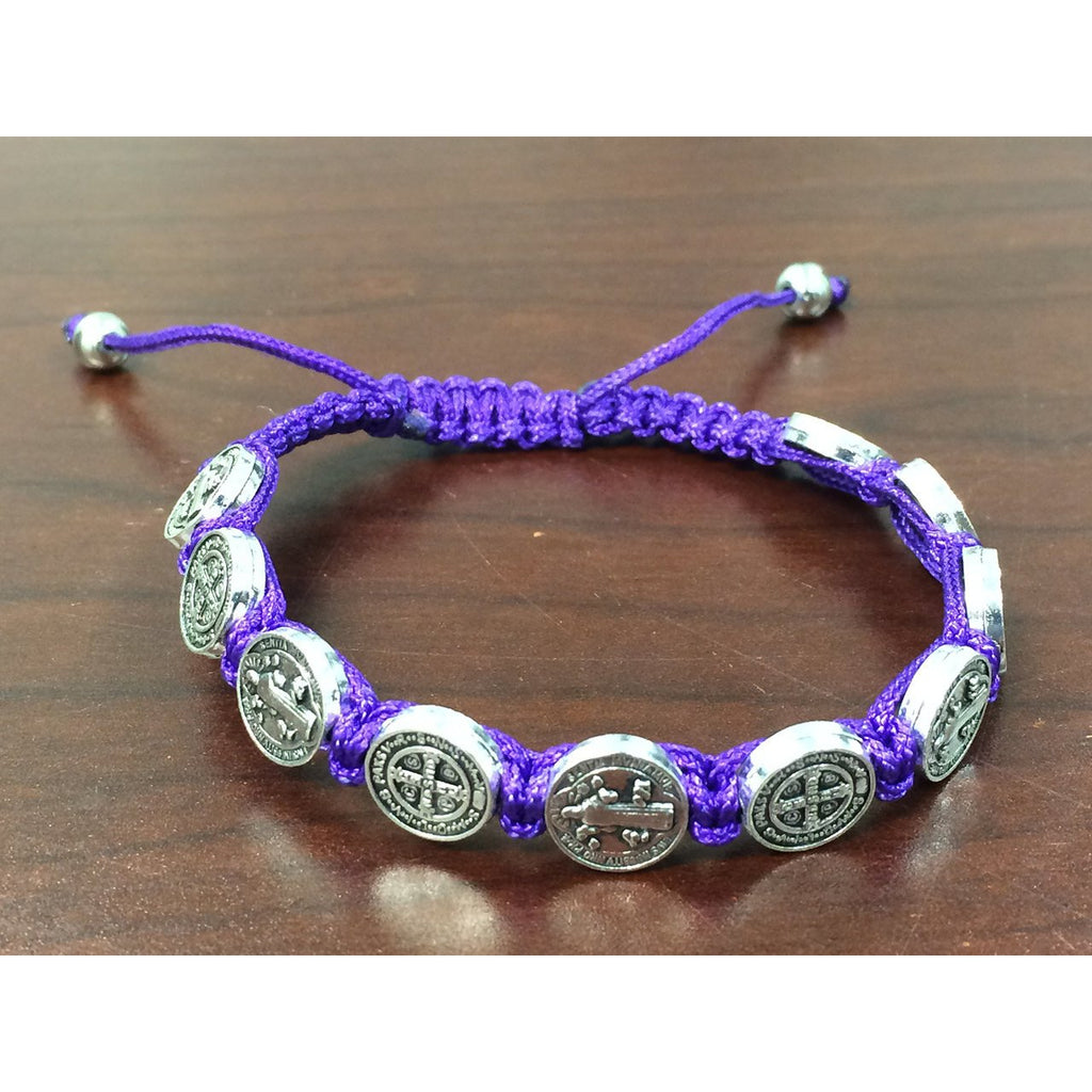 St. Benedict Slip Knot Bracelet - Purple - Pack of 12