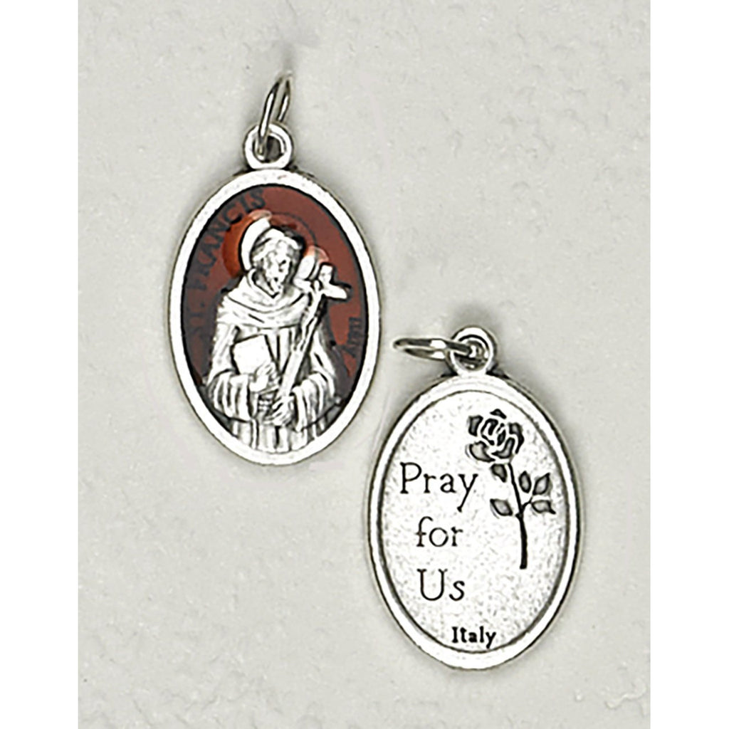 Saint Francis Double Sided Brown Enamel Medal - 4 Options