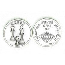 Sports Token with Chess- Never Give Up, Champions Never Quit.