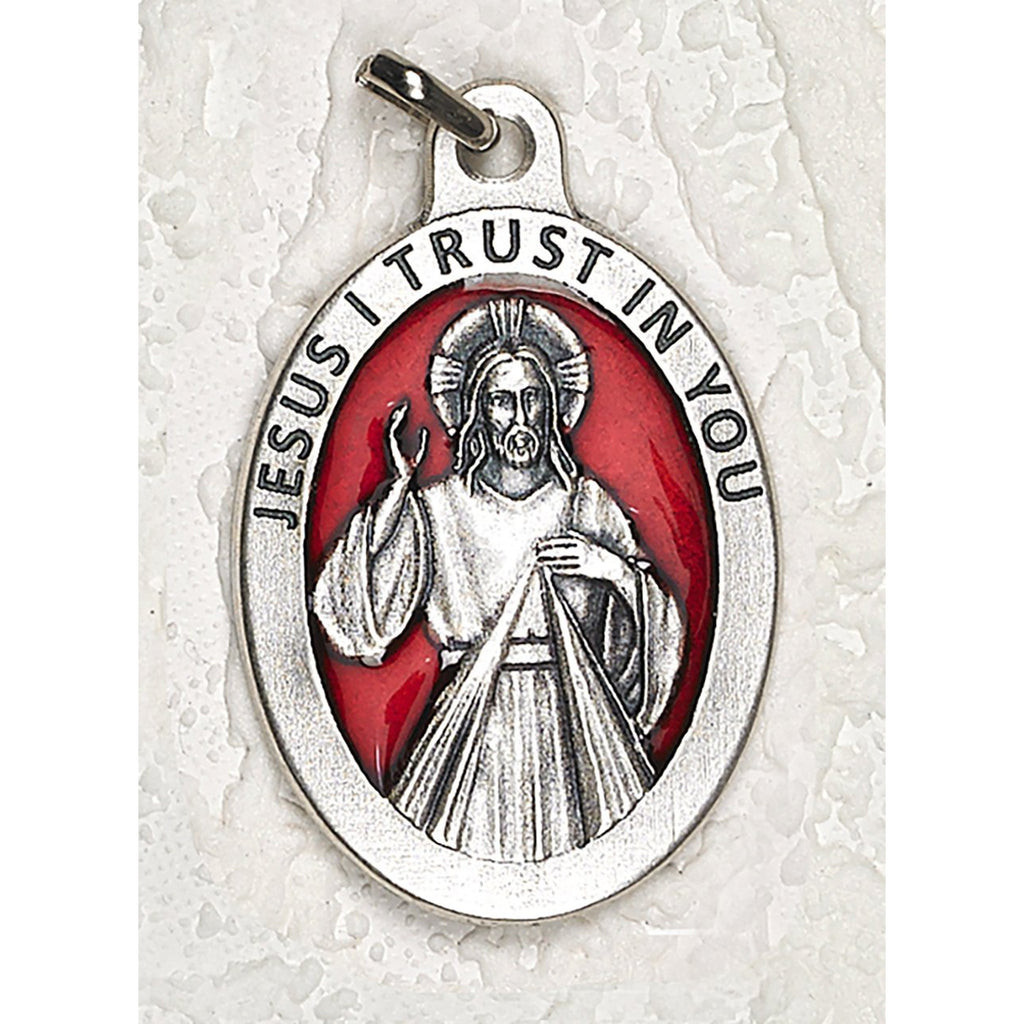 Divine Mercy  1-1/2 Inch Oval Red Enamel Medal - pack of 12