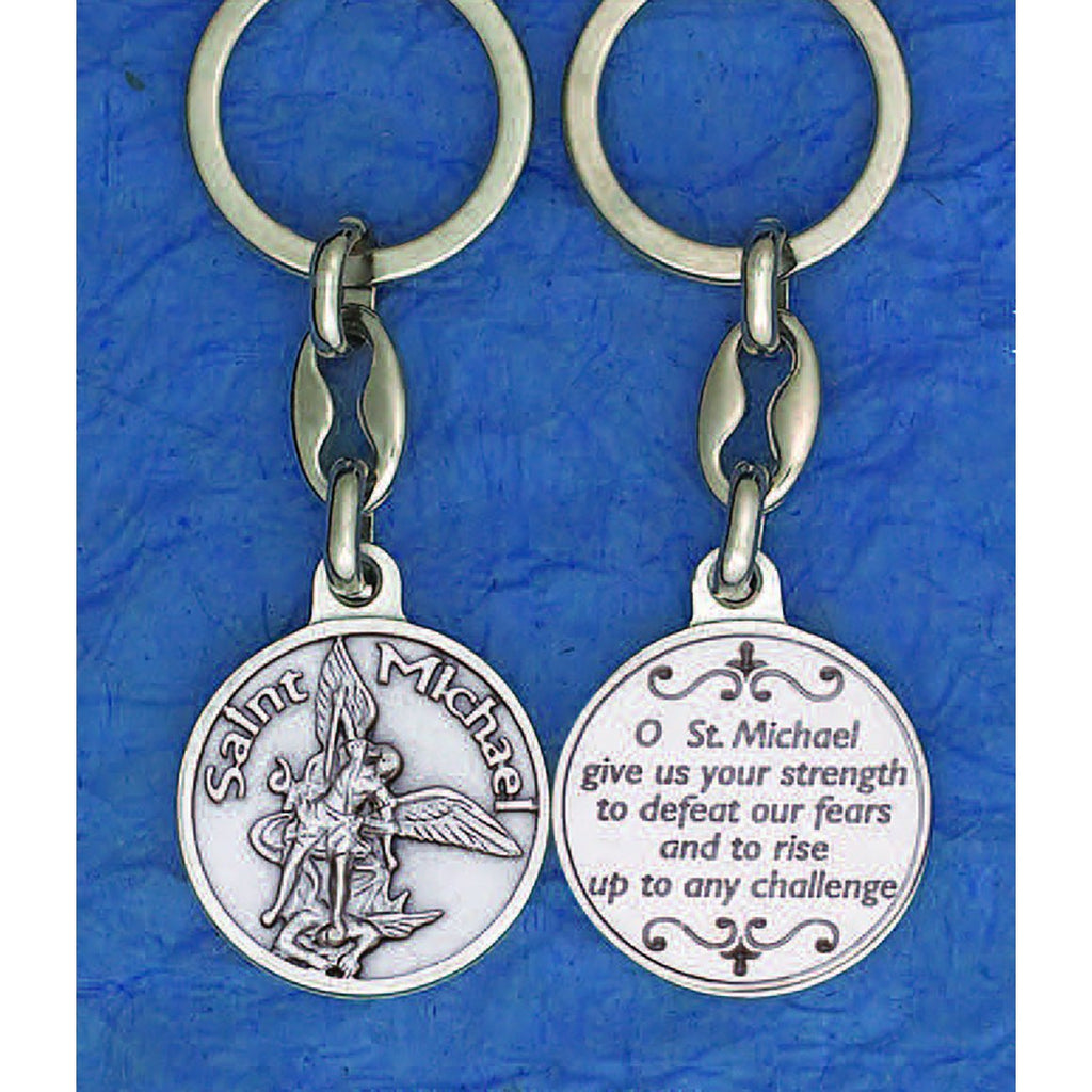 Saint Michael Silver Tone Keyring - Pack of 6