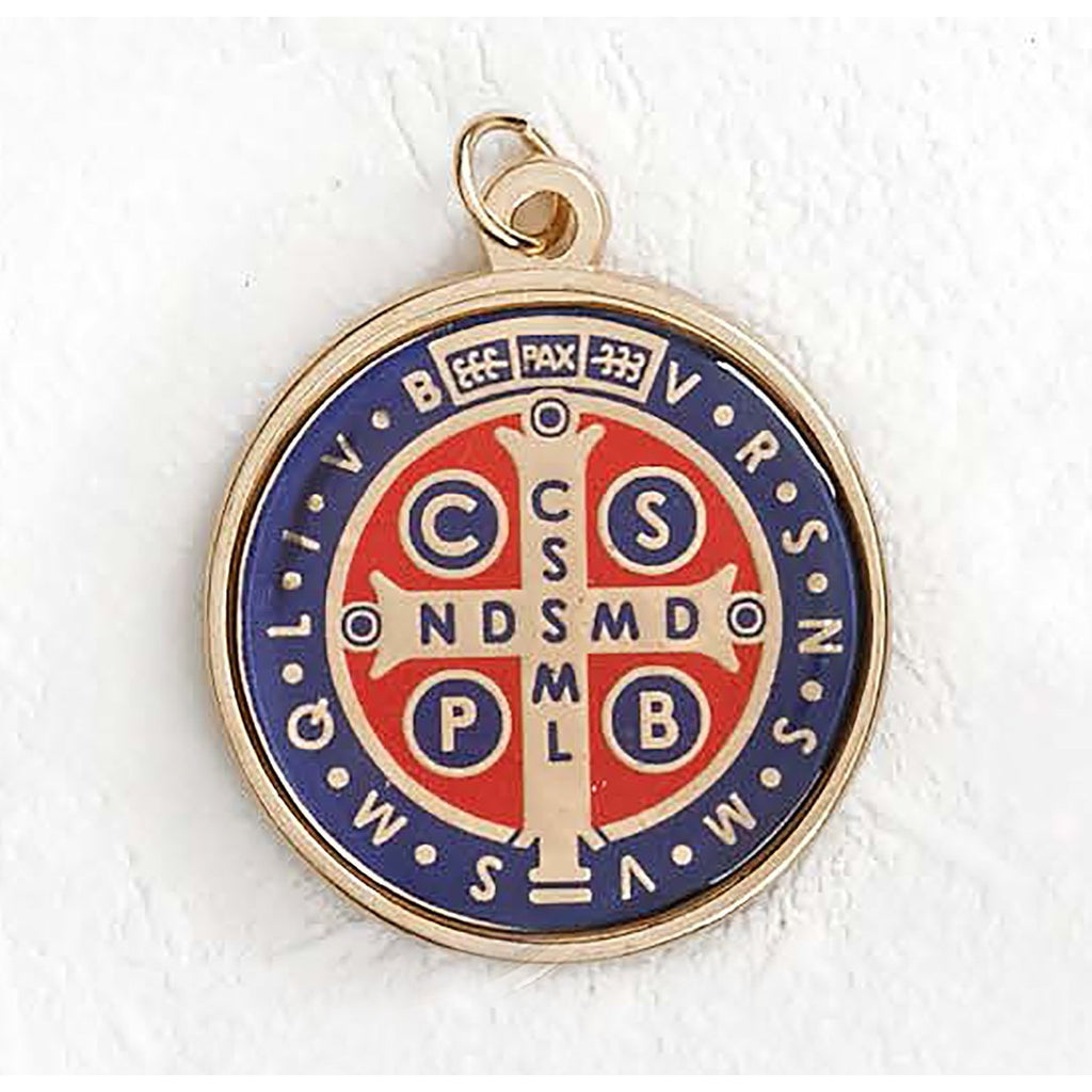 Saint Benedict Gold Tone Foil Medal Blue and Red - 12 Options