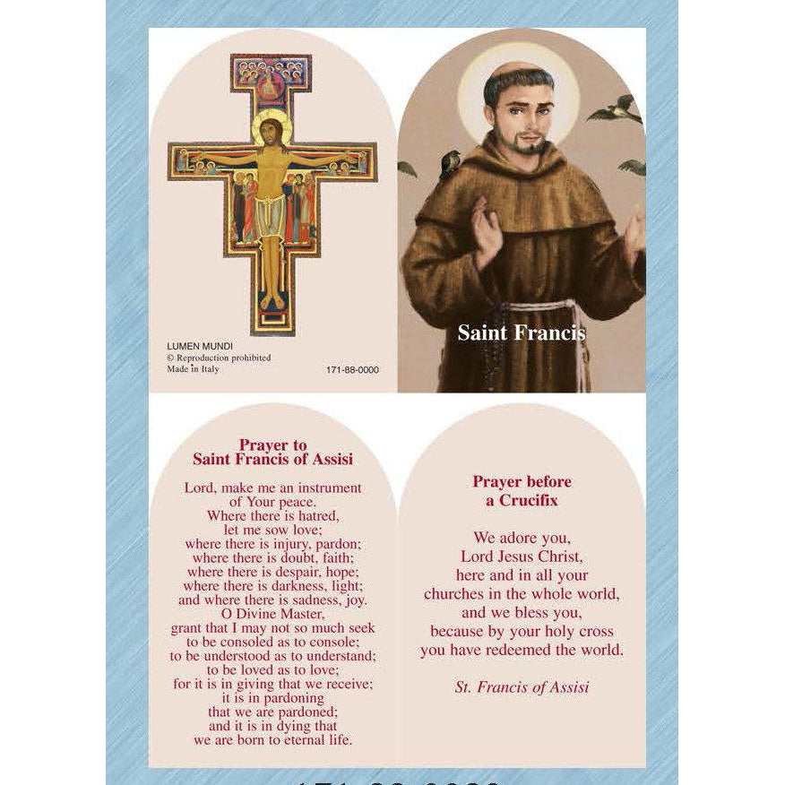 St Francis / San Damiano - Arched Folding PVC Prayer Card - Pack of 25