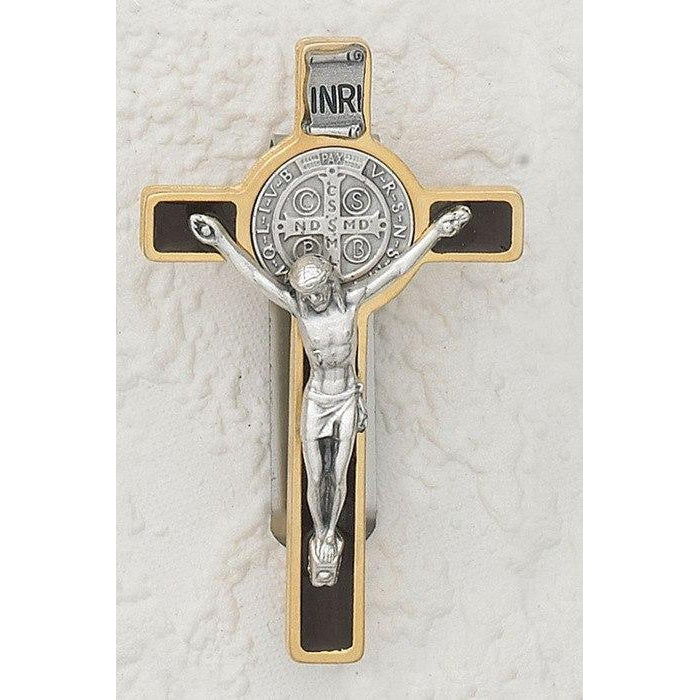 Saint Benedict - Gold tone Crucifix - Visor Clip - Brown Enamel - Pack of 3