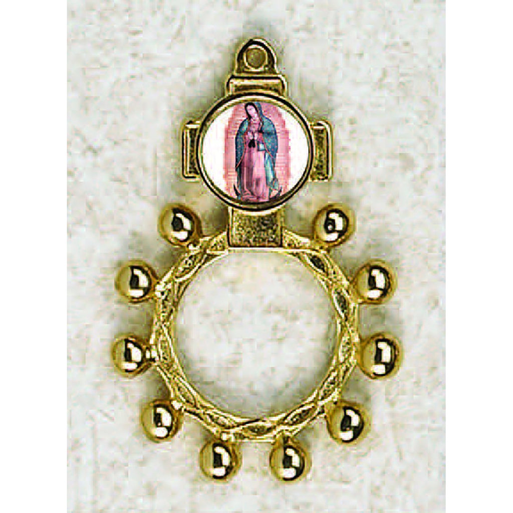 Lady of Guadalupe - Finger Rosary - Graphic Gold Tone
