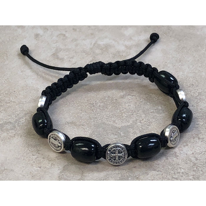 Black Wood with Saint Benedict Medals Slip Knot Bracelet