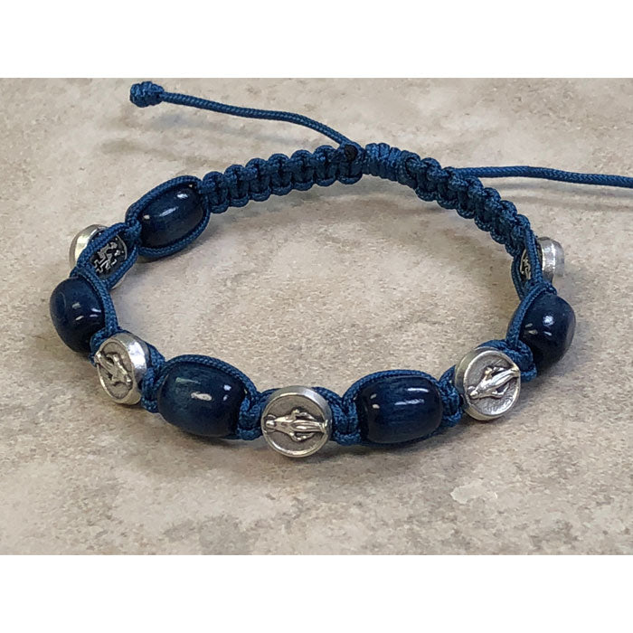 Blue Wood with Miraculous Medals Slip Knot Bracelet