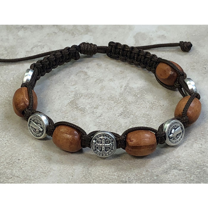 Light Brown Wood with Saint Benedict Medals Slip Knot Bracelet
