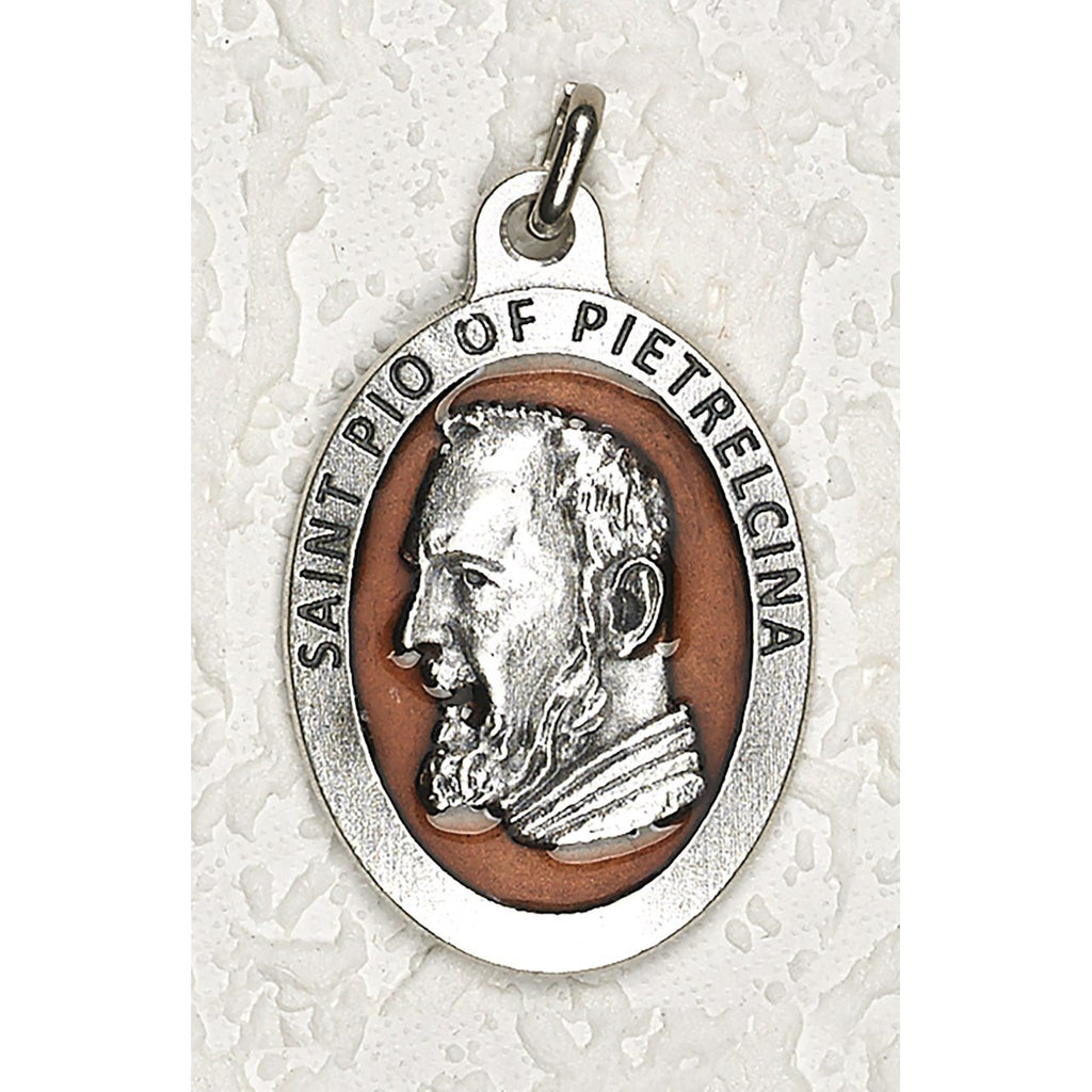 Saint Pio 1-1/2 Inch Oval Brown Enamel Medal - Pack of 12