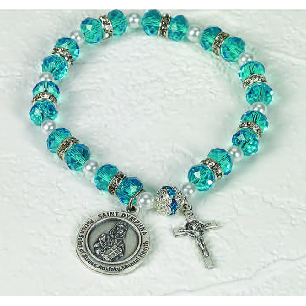 Healing Saint Crystal Rosary Bracelet - St Dymphna - Pack of 3