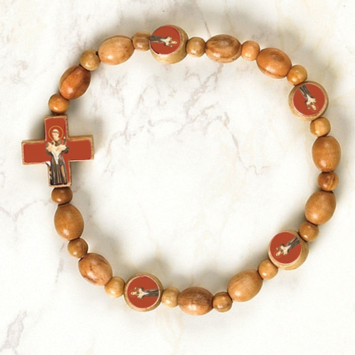 St Anthony - Italian Olive Wood Stretch Bracelets - Pack of 6