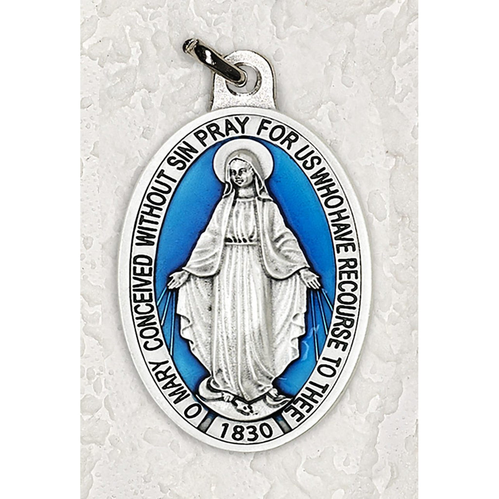 Miraculous Mary 1-1/2 Inch Oval Blue Enamel Medal - Pack of 12