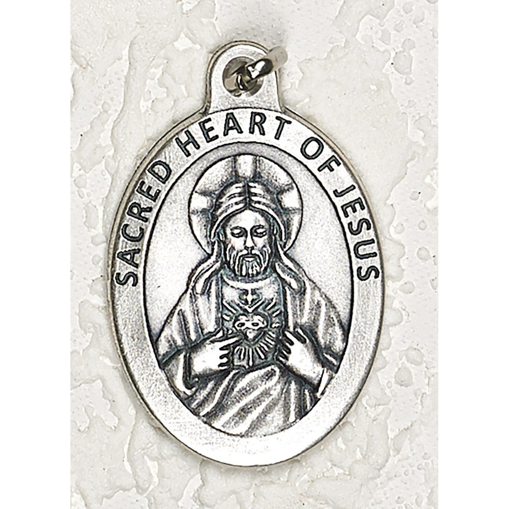 Sacred Heart Double Sided Medal - 1-1/2 Inch - 4 Options