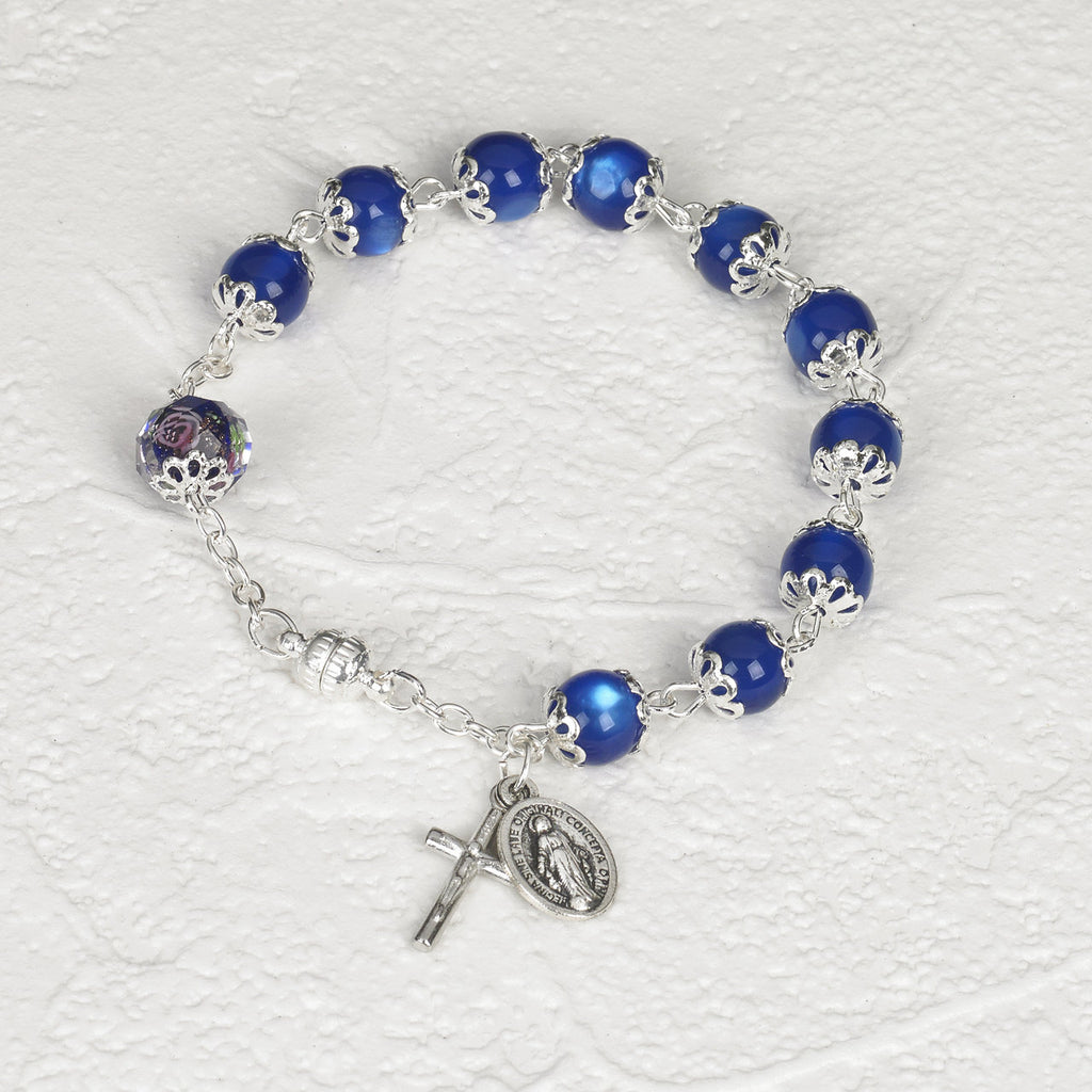 Dark Blue Cats Eye - Italian Stretch Rosary Bracelet - Pack of 4