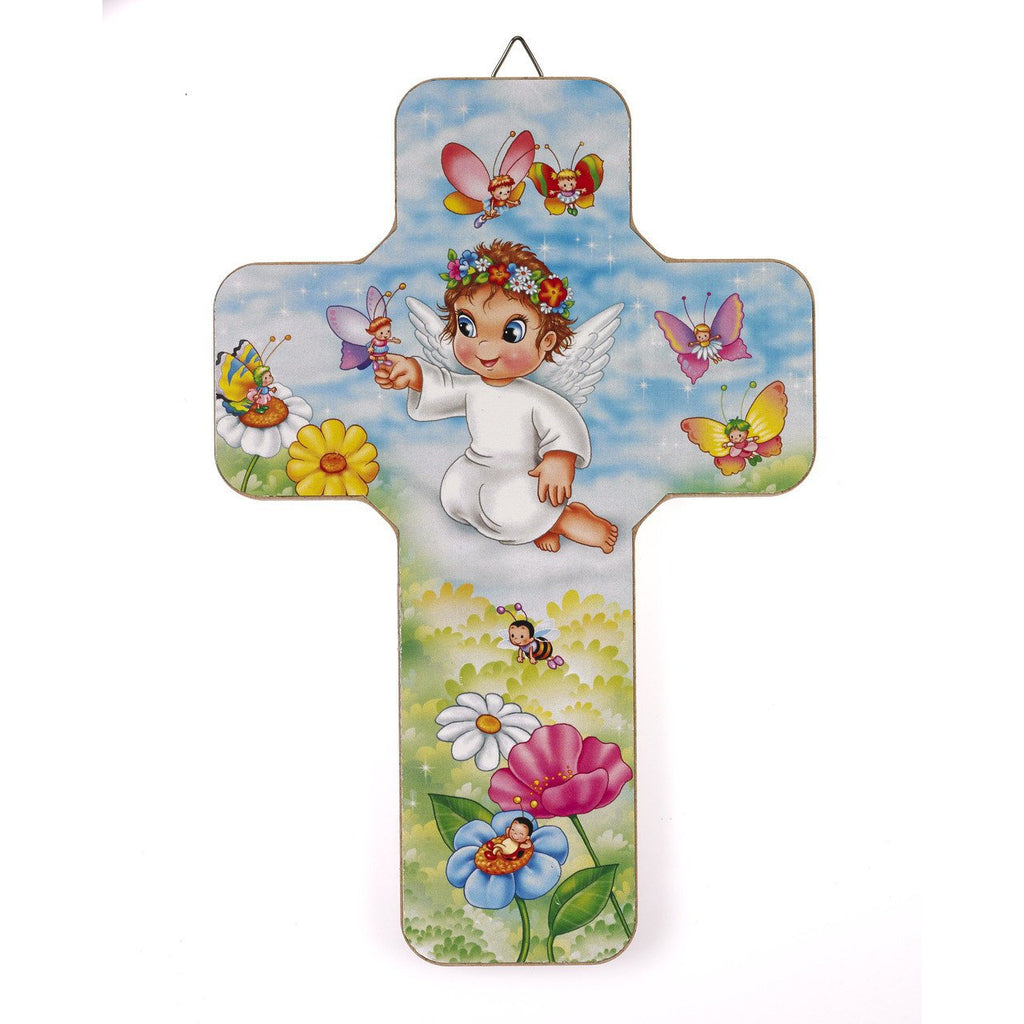 Wood Wall Cross - Guardian Angel with Butterfly - Pack of 3