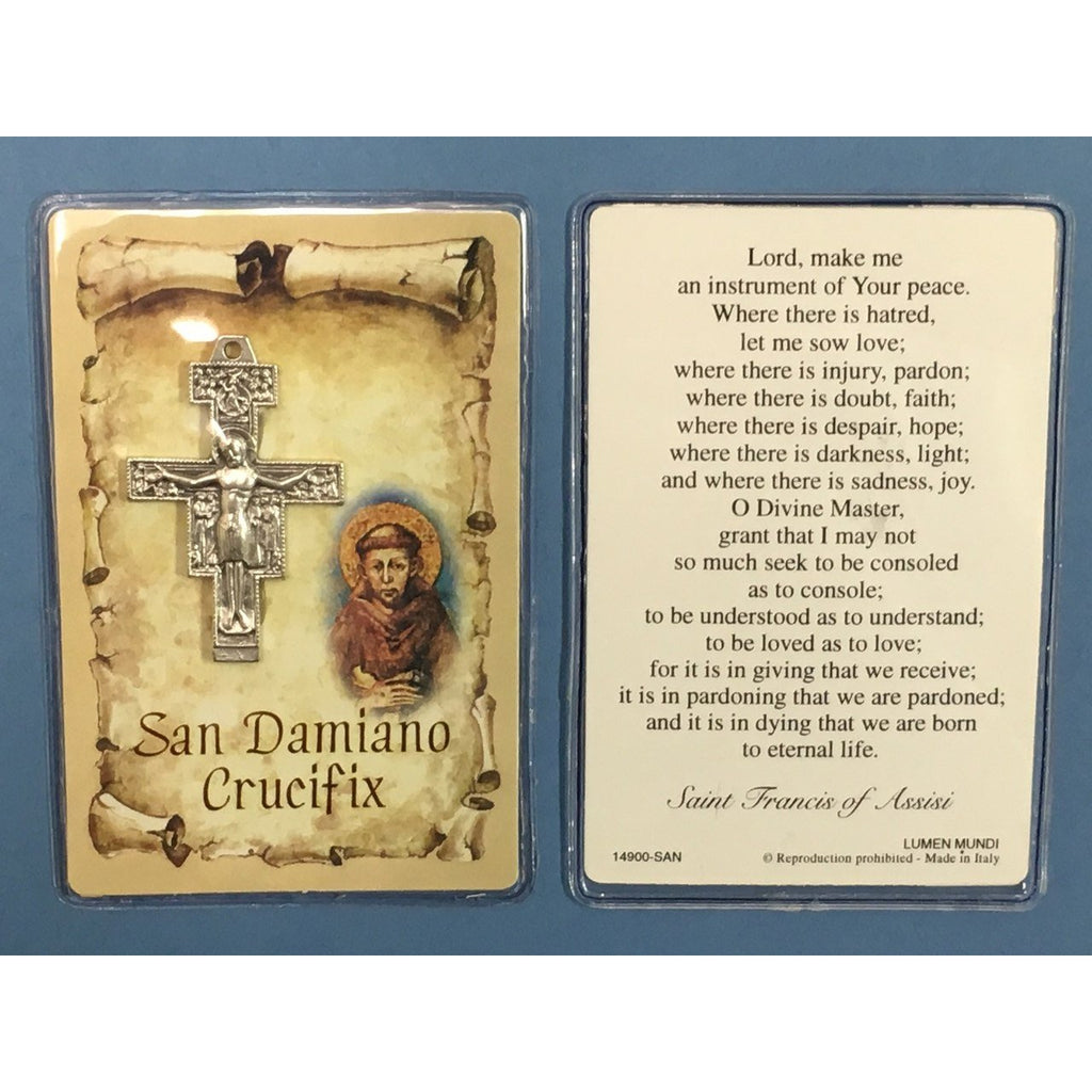 San Damiano Crucifix with Prayer Card - Pack of 12