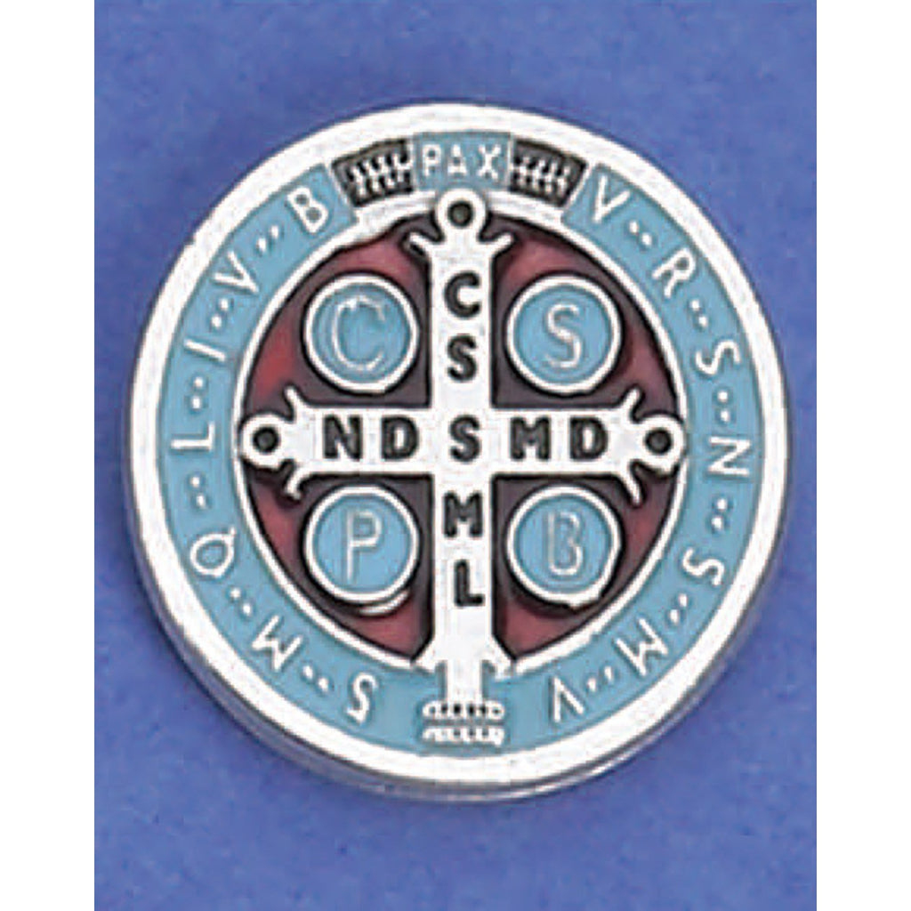 Saint Benedict Lapel Pin - Silver Tone Light Blue - Pack of 6
