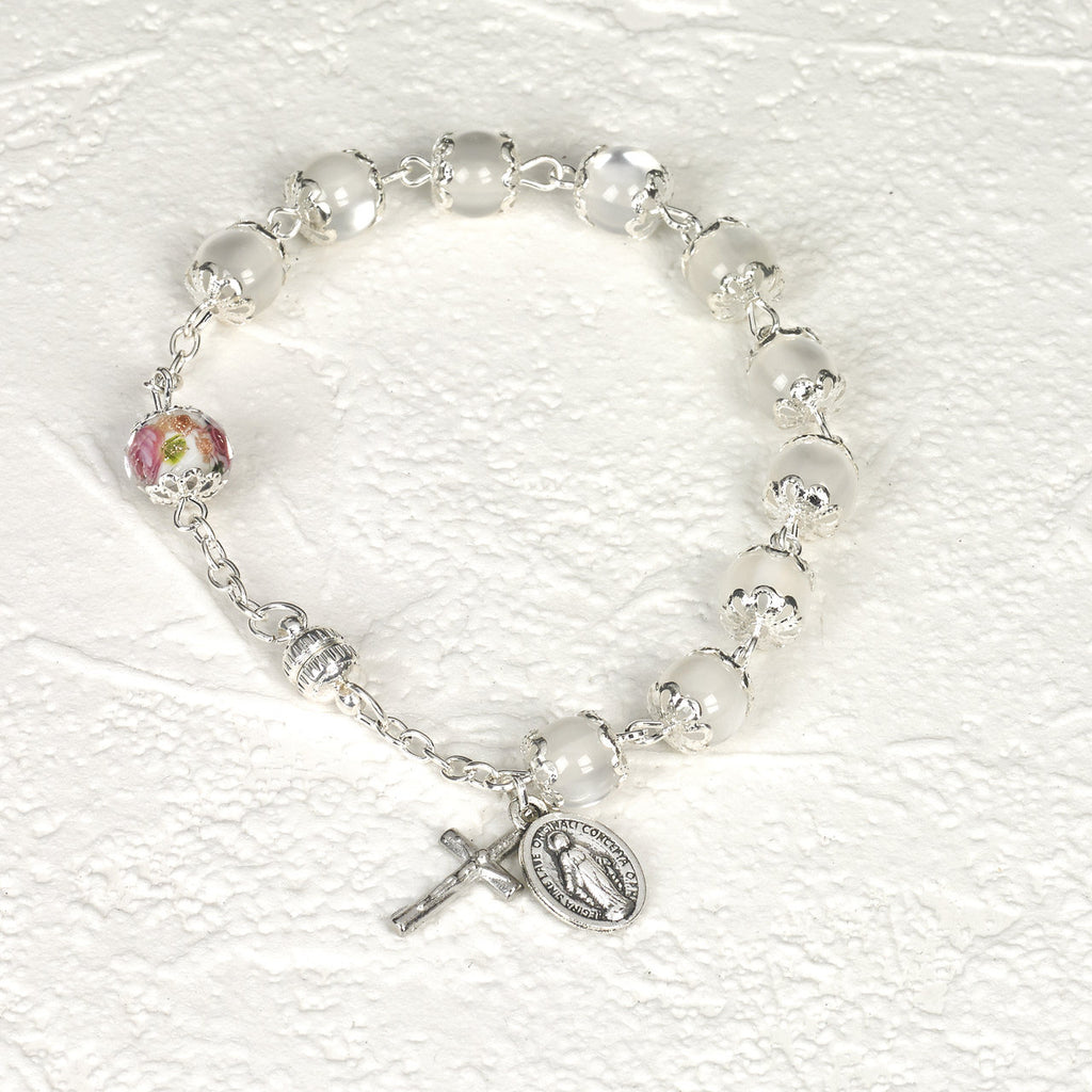 White Cats Eye - Italian Stretch Rosary Bracelet - Pack of 4