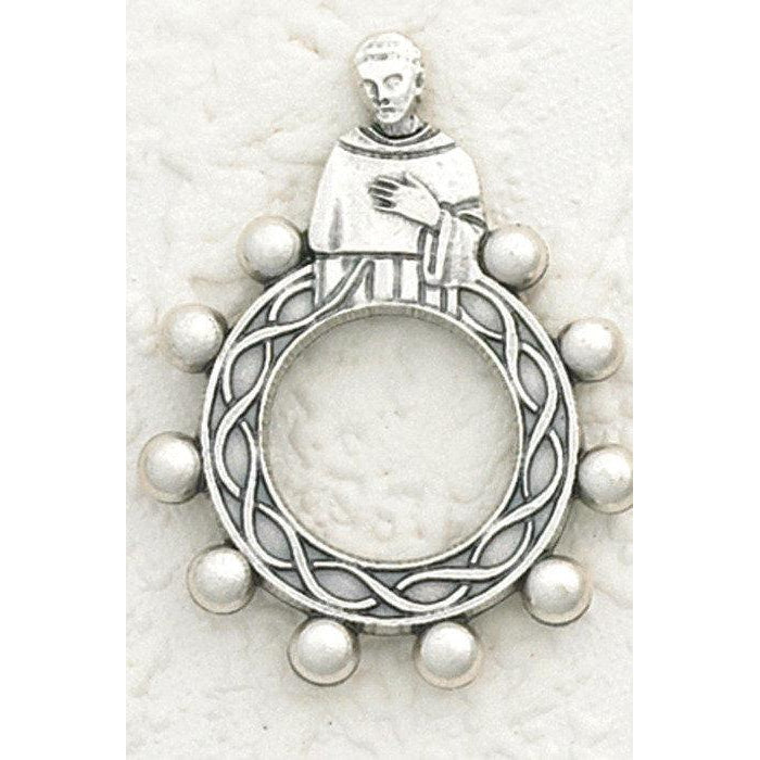 St Peregrine - Finger Rosary - Silver Tone