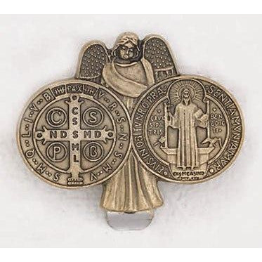 Saint Benedict - Guardian Angel - Brass Tone - Visor Clip - Pack of 3