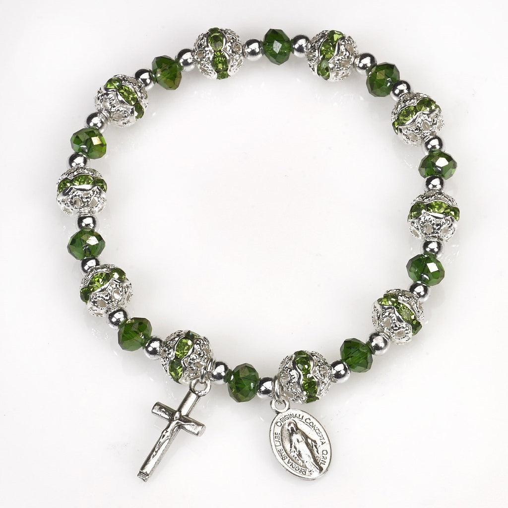 Green Stretch Rosary Bracelet - Pack of 4
