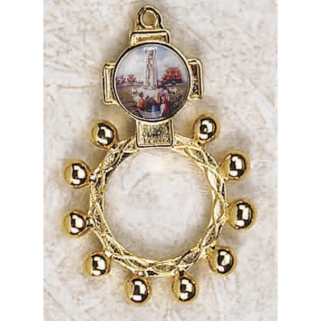 Lady of Fatima - Finger Rosary - Graphic Gold Tone