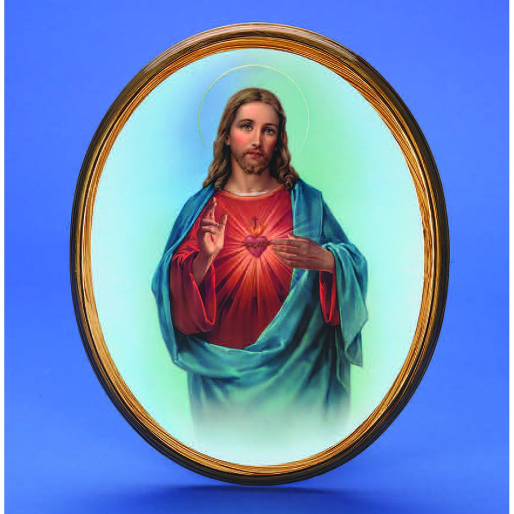 Oval Picture Sacred Heart of Jesus - 2 Sizes