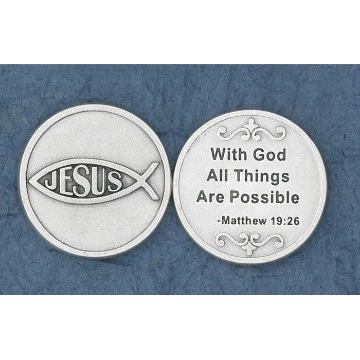 Christian Token - Jesus Fish - With God