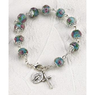 Light Blue Crystal Rosary Bracelet with Pink Rose