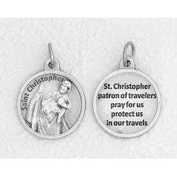 Saint Christopher Silver Tone Round Medal - 4 Options