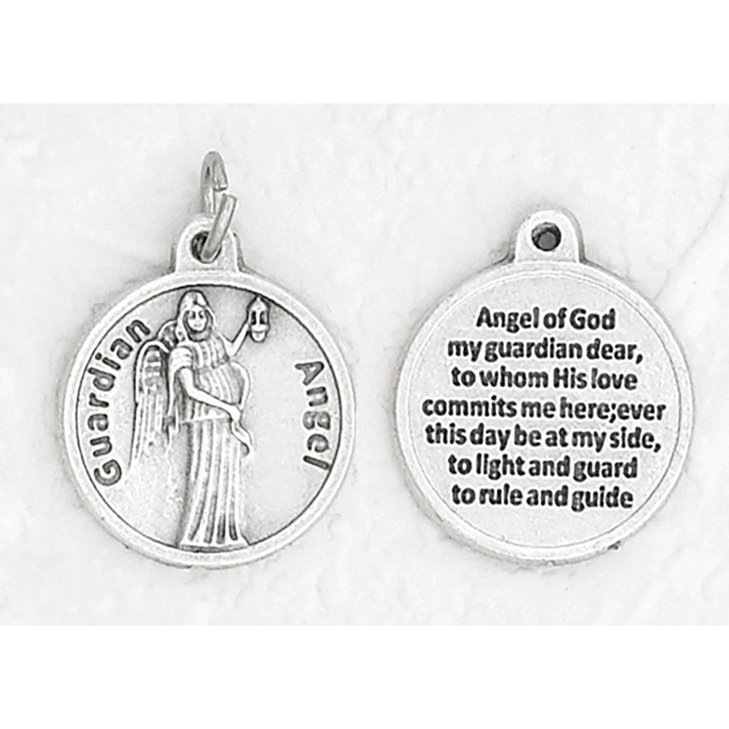 Guardian Angel Silver Tone Round Medal - 4 Options