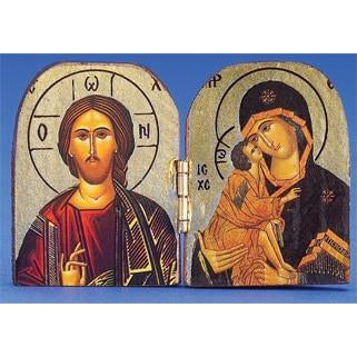 Pantocrator / Vladimir Printed Gold Foil Diptych 2-3/4 x 2 inch