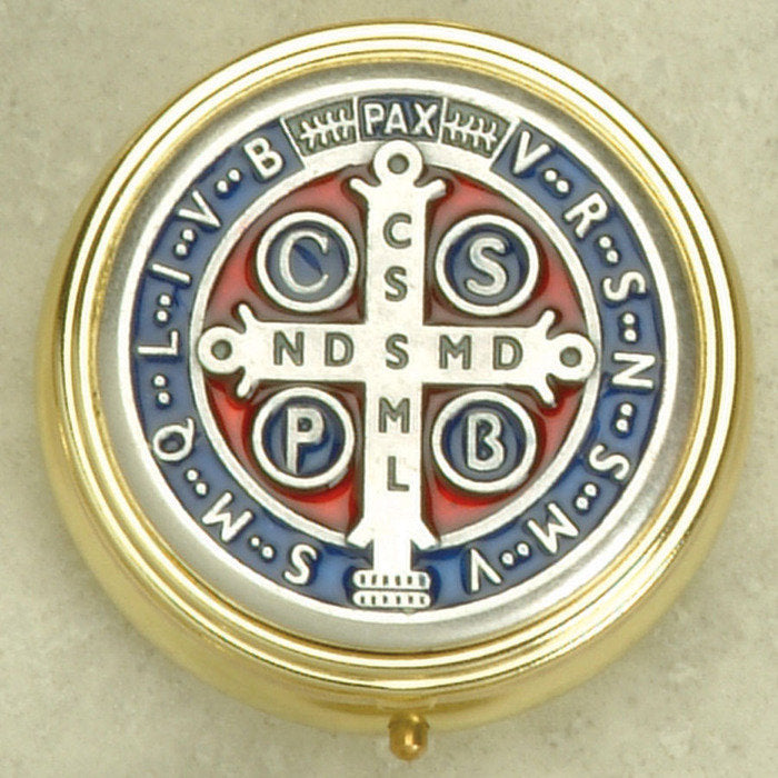 Saint Benedict Enameled -  Pyx - 2 Sizes