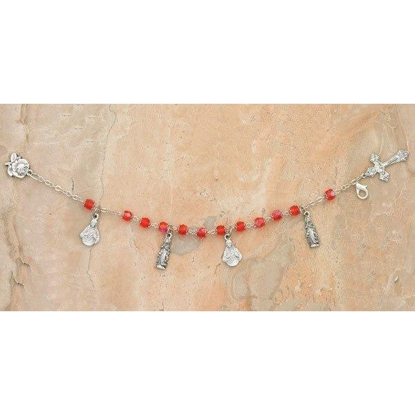 Twin Hearts Charm Bracelet Red