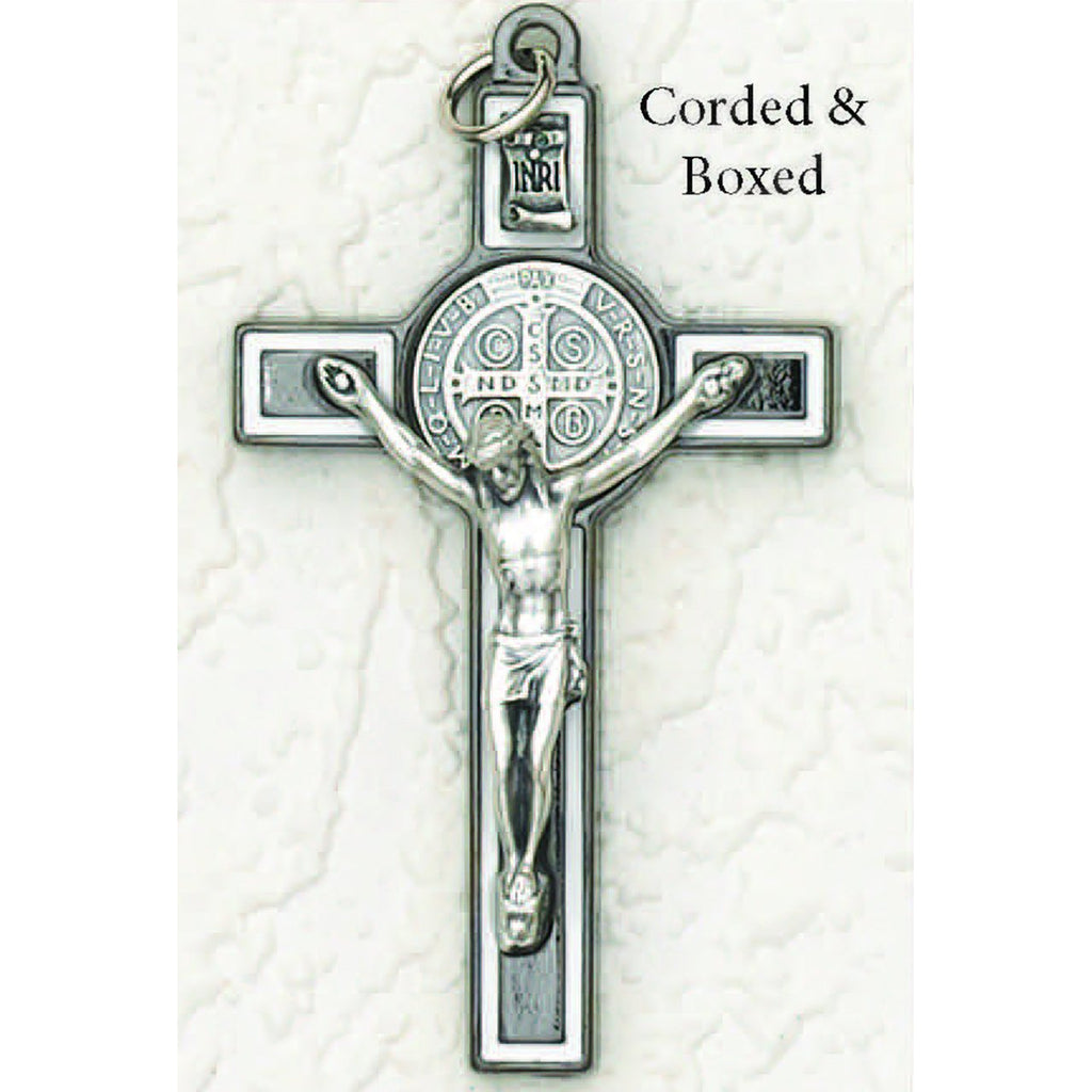 Saint Benedict Black Tone with White Enamel Crucifix - Silver Tone Medal