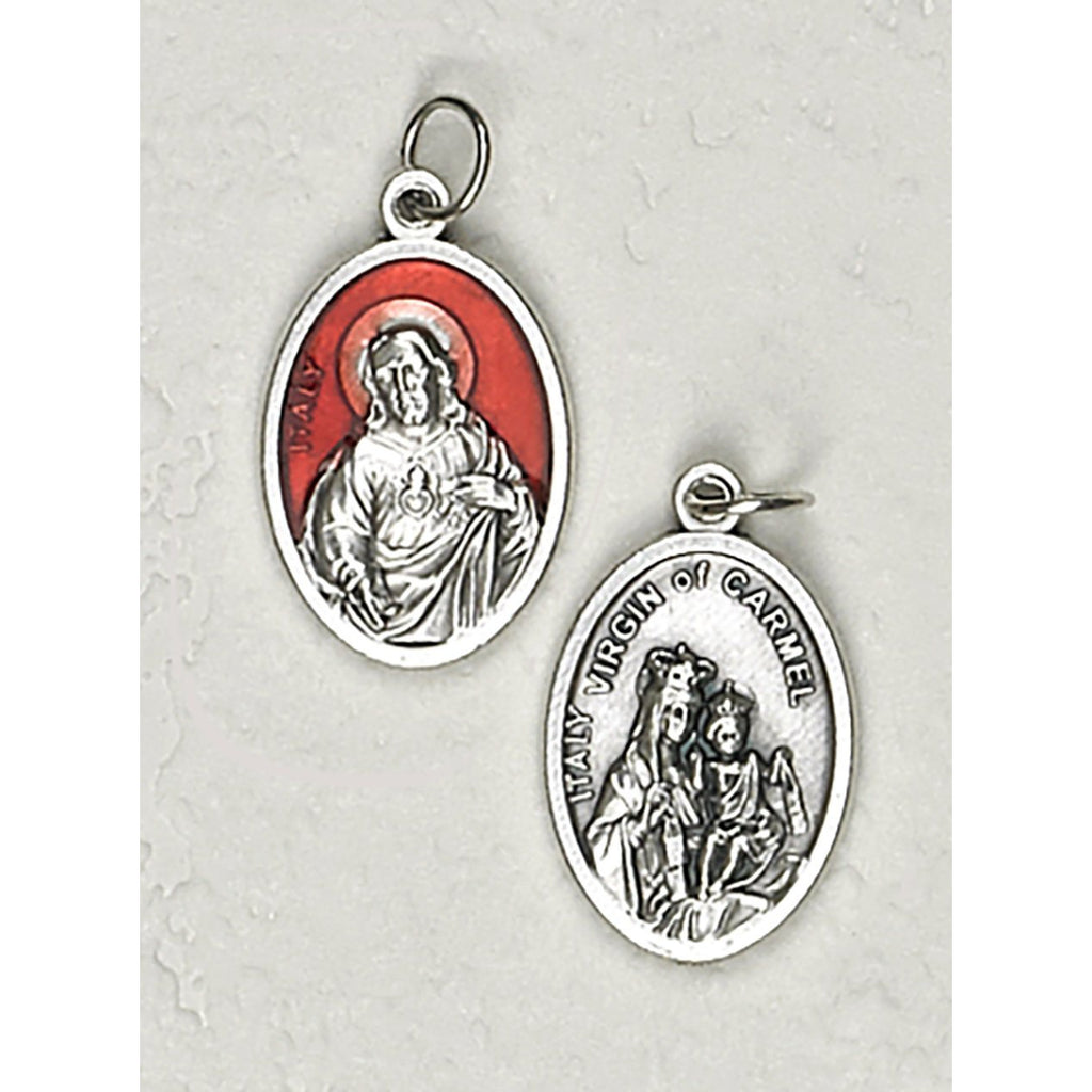 Sacred Heart Double Sided Red Enamel Medal - 4 Options