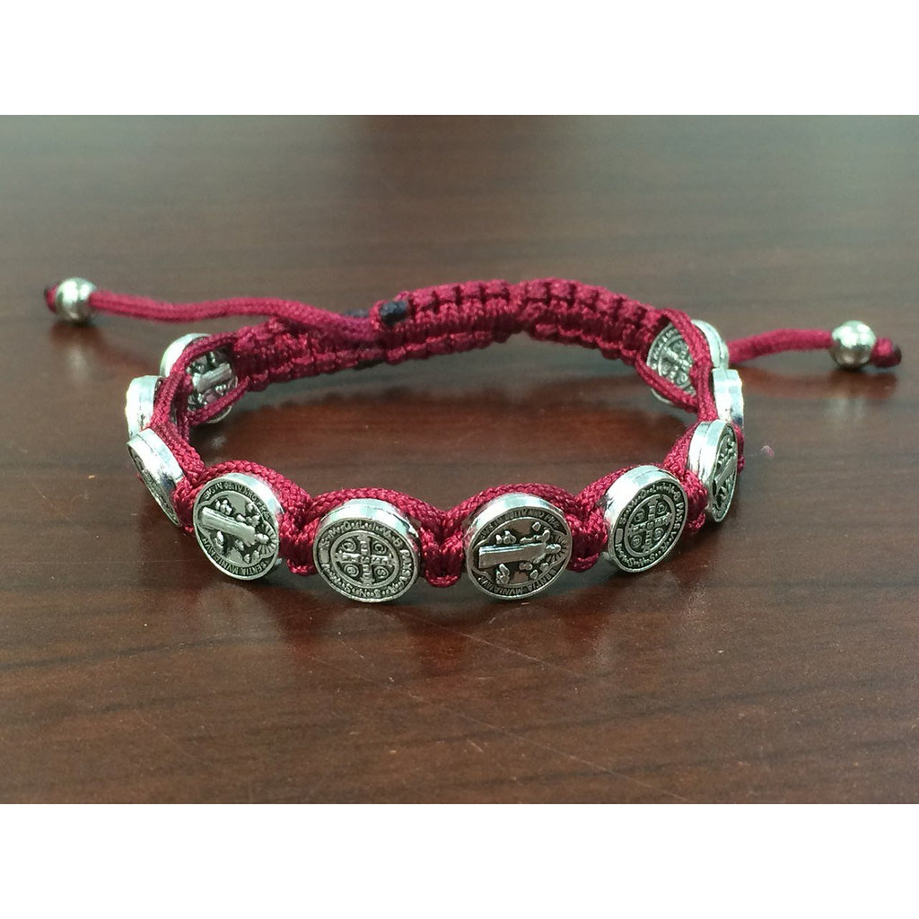 St. Benedict Slip Knot Bracelet - Red - Pack of 12