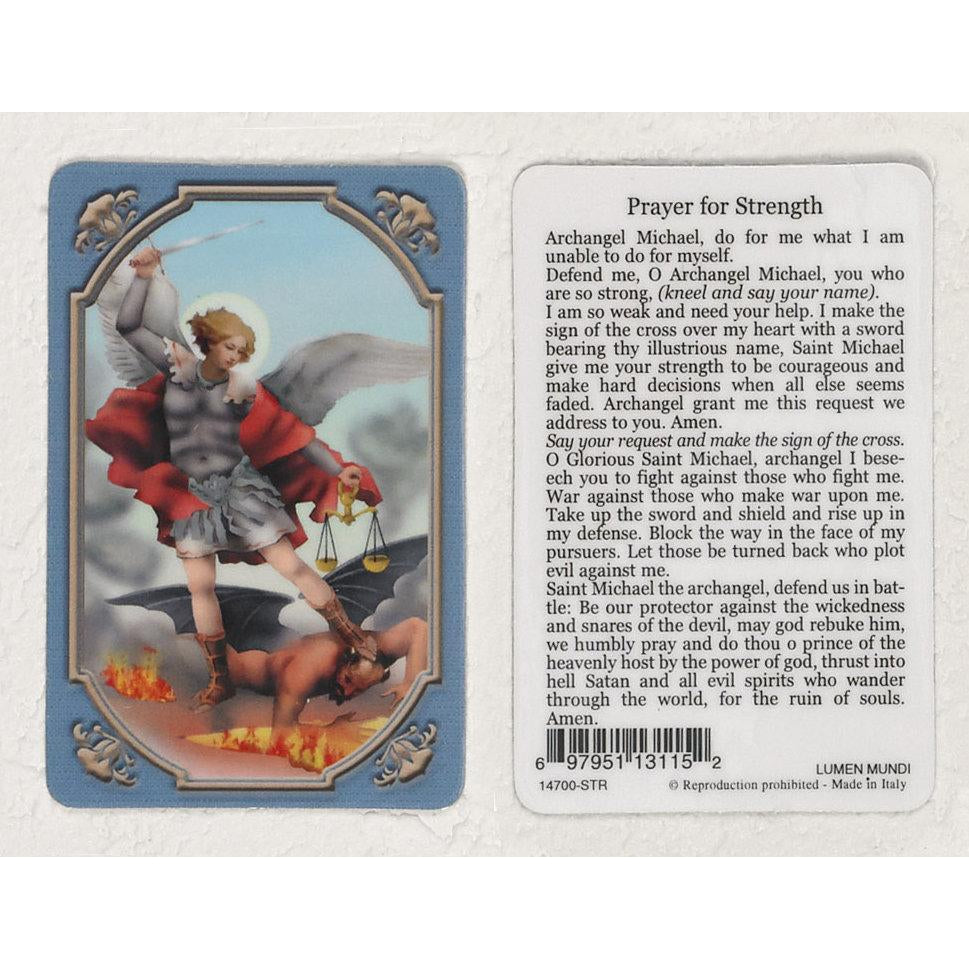 Daily Inspiration Plastic Prayer Card - Saint Michael - Pack of 25