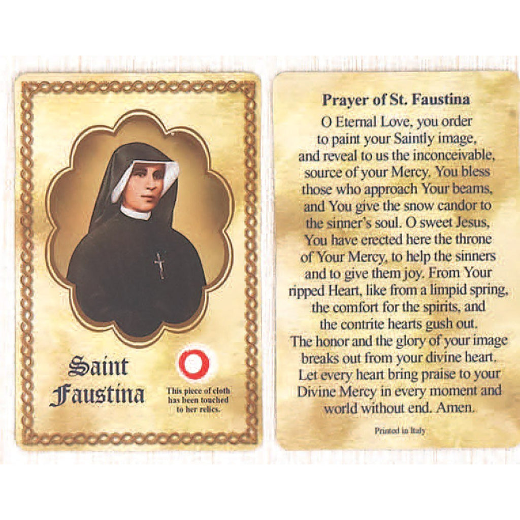 Saint Faustina Relic Card - Pack of 25