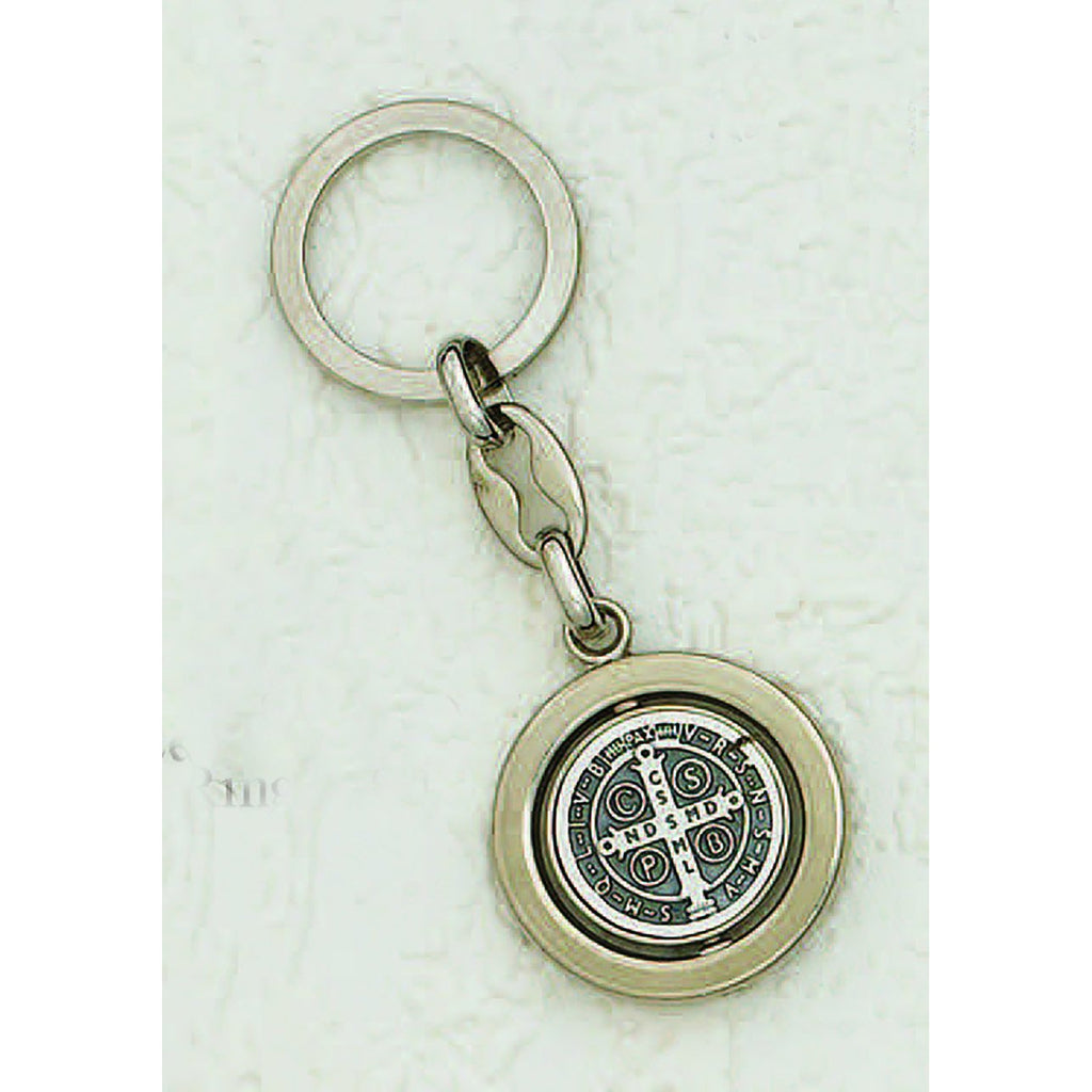 Silver Tone Spinning Saint Benedict Key Chain - Pack of 6