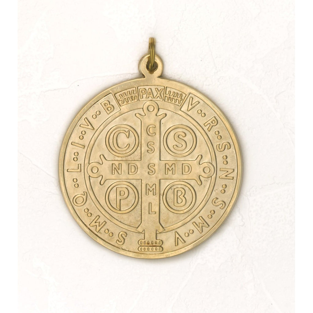 Saint Benedict Large Medal - Gold Tone