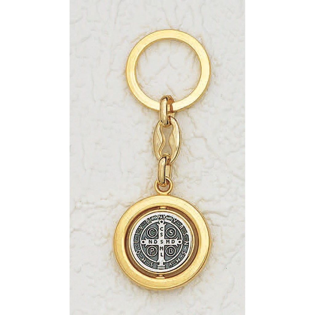 Gold Tone Spinning Saint Benedict Key Chain - Pack of 6