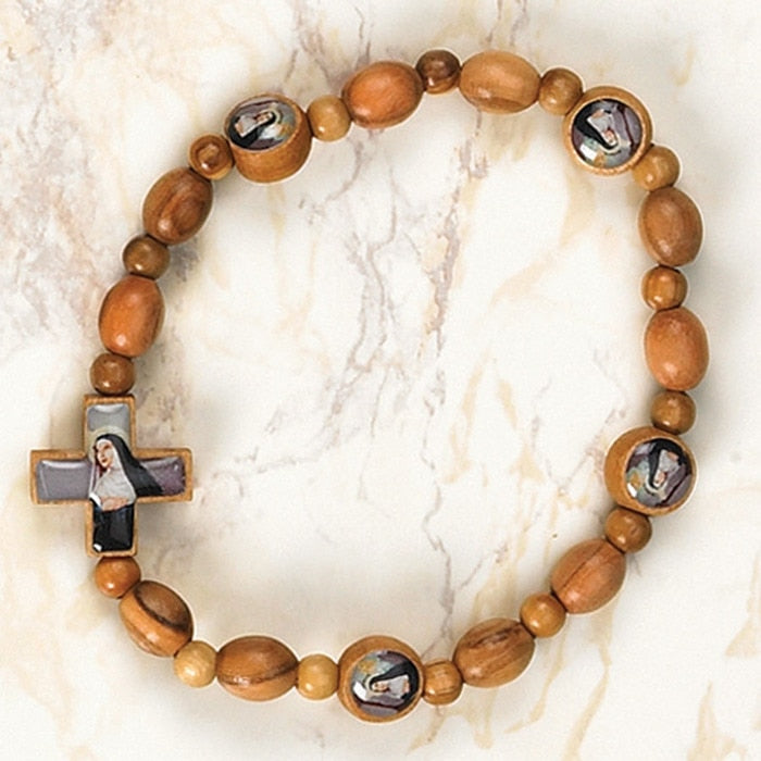 St. Rita - Italian Olive Wood Stretch Bracelets - Pack of 6