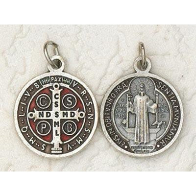 Saint Benedict Silver Tone with Brown Enamel Medal - 6 Options