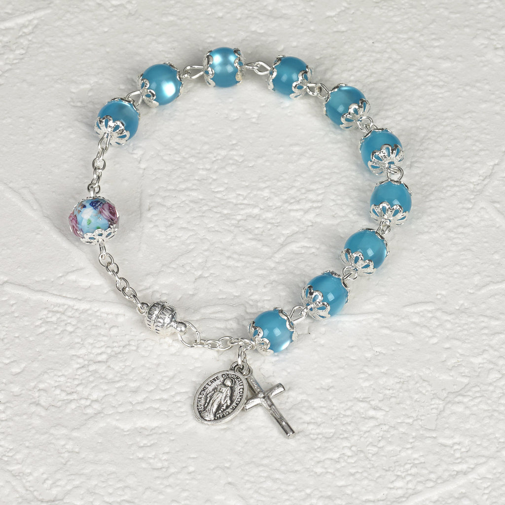 Light Blue Cats Eye - Italian Stretch Rosary Bracelet - Pack of 4