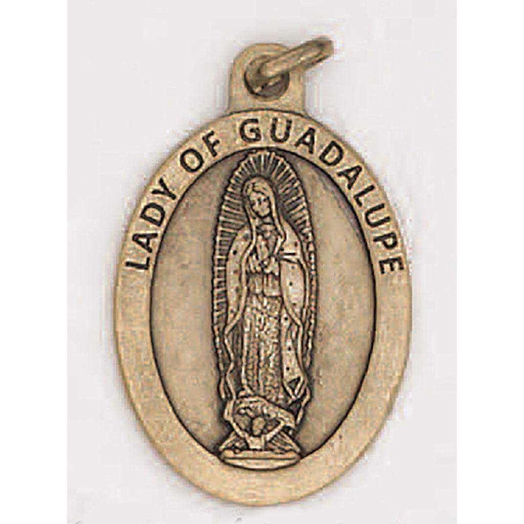 Lady of Guadalupe Premium 1 inch Brass Tone Double Sided Medal - 4 Options