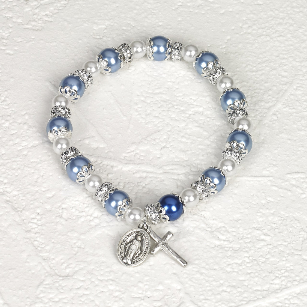 Blue Rosary Bracelet with Pearl - Pack of 4