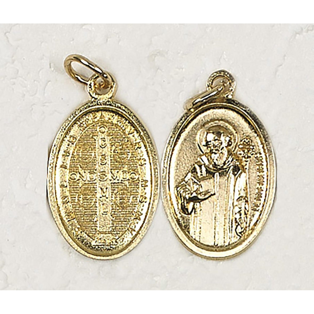 Saint Benedict Double Sided Gold Tone Medal - 4 Options