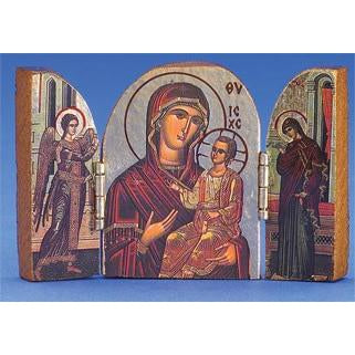 Amolintos (Mary) Printed Gold Foil Triptych 3 x 2 inch