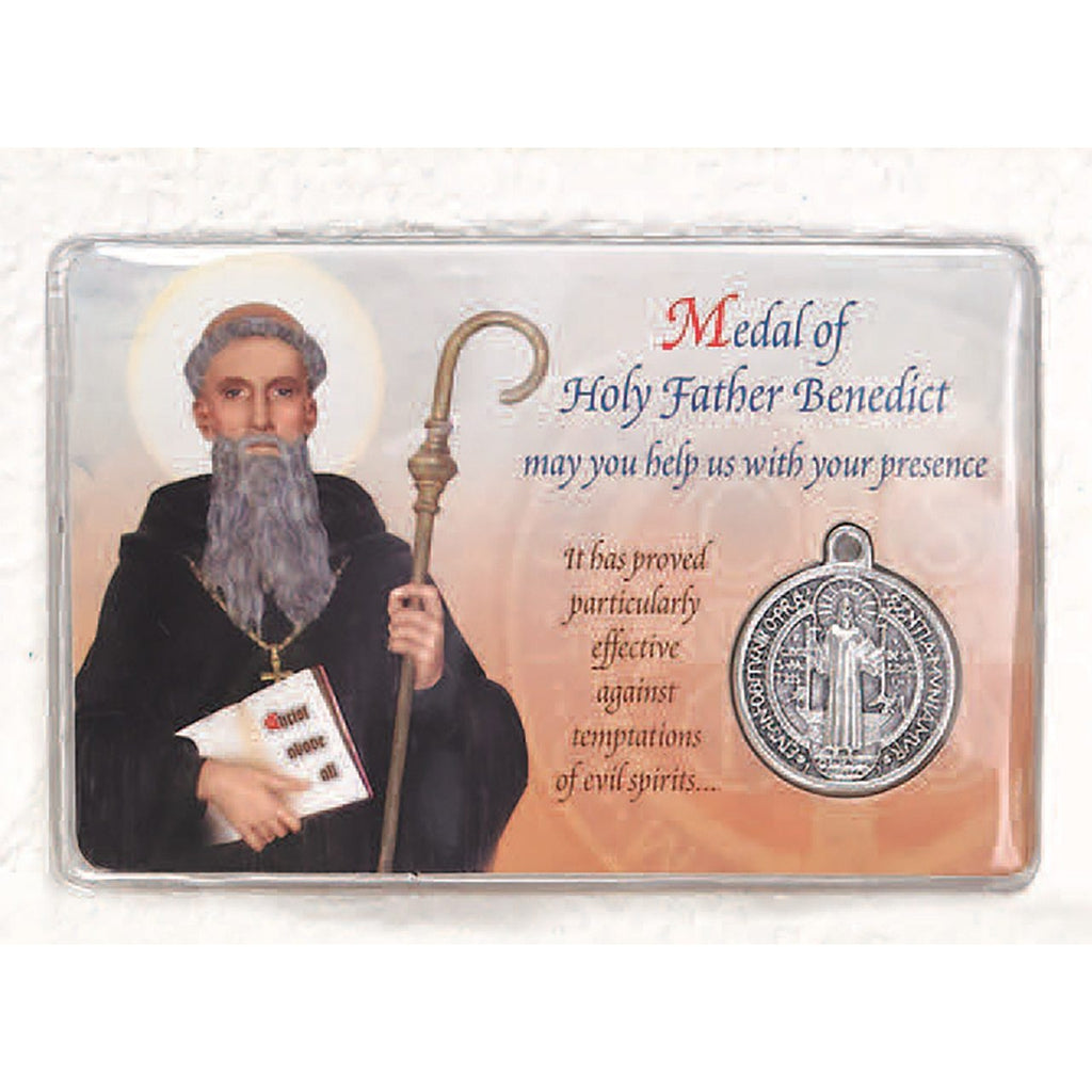 St Benedict Prayer Card with Medal - Pack of 25